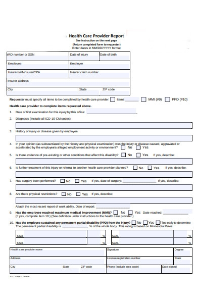 healthcare provider report form