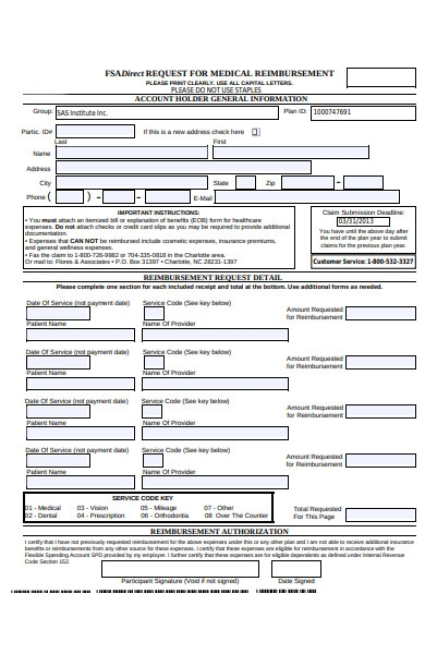 healthcare reimbursement form