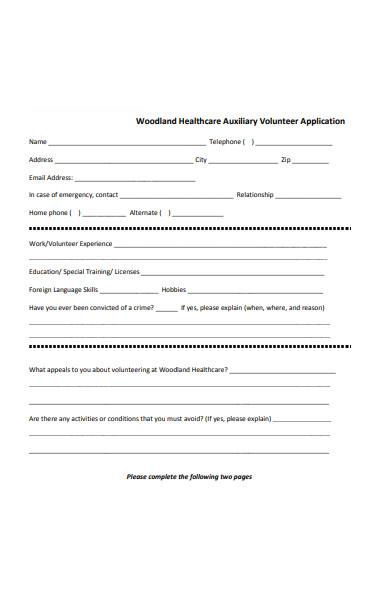 healthcare volunteer application form