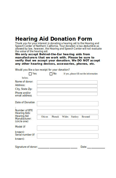 hearing aid donation form
