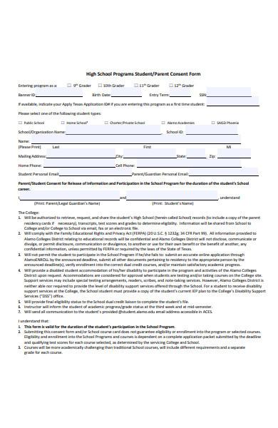 high school program consent form