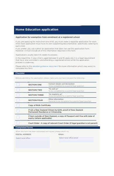 home education application form