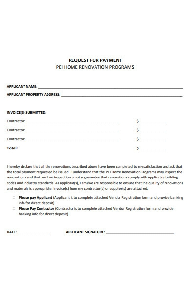 home renovation payment form