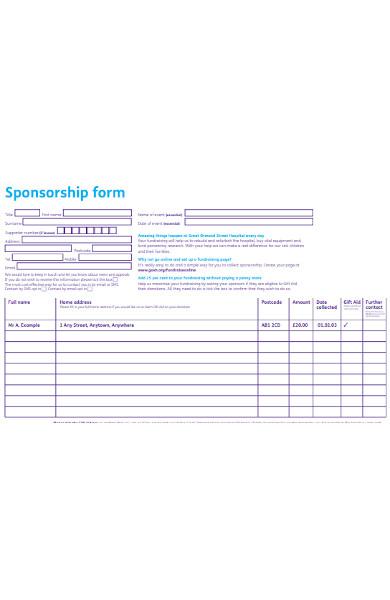 hospital sponsorship form