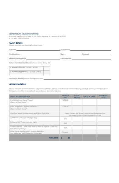 hotel accommodation booking form in pdf