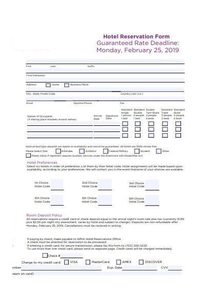 hotel information reservation form