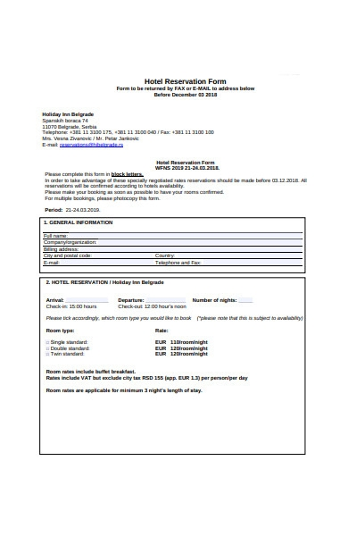 hotel reservation form template