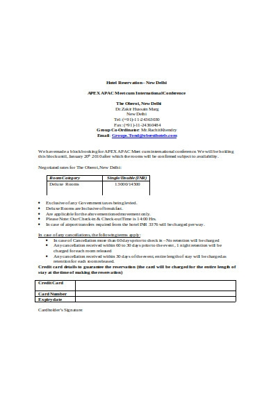 hotel reservation form in doc