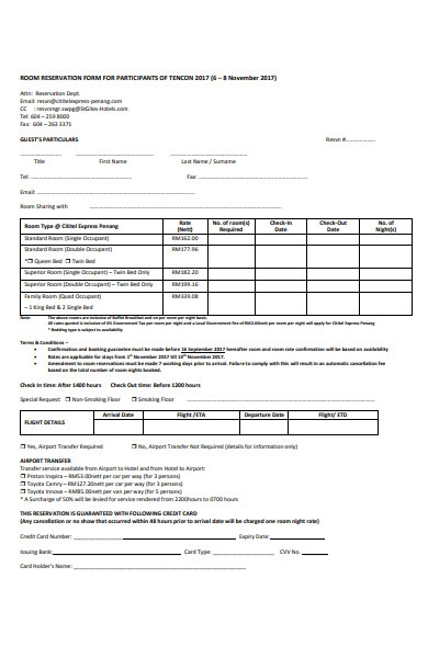 hotel room reservation booking form