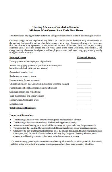 housing allowance calculation form