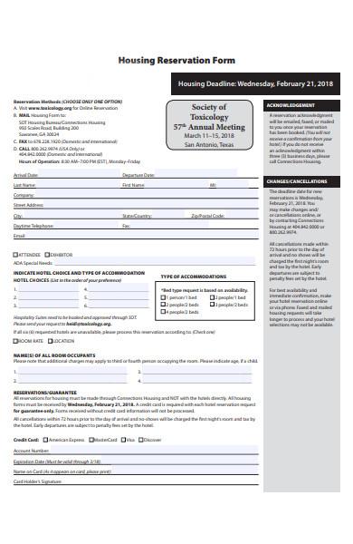 housing reservation form