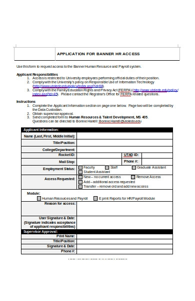 human resources access application form