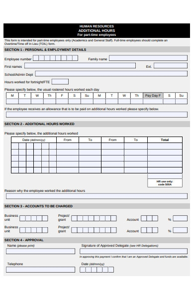 human resources additional hours form