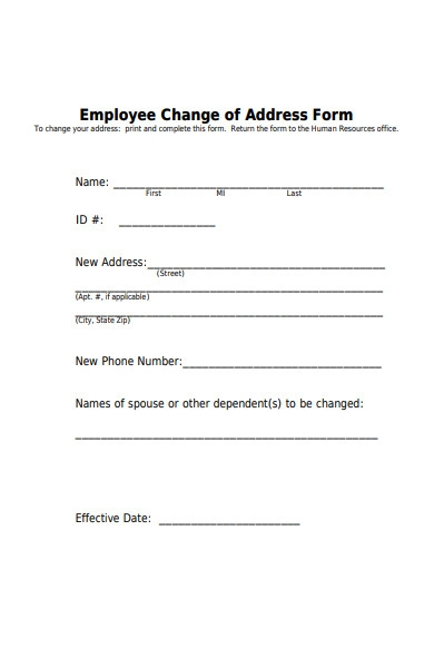 human resources address change form