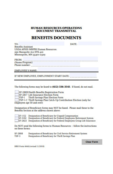 human resources benefit document form