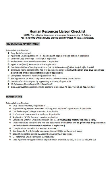 human resources checklist form