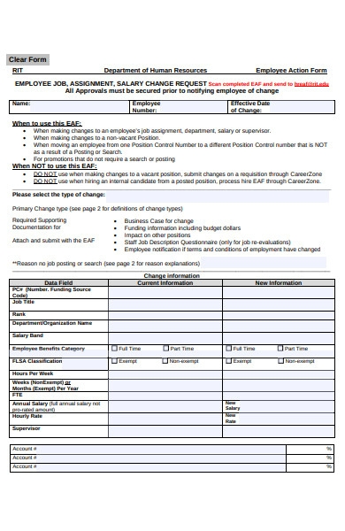 human resources employee action form
