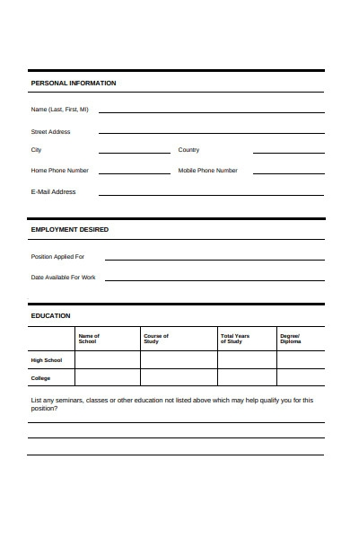 human resources employment form