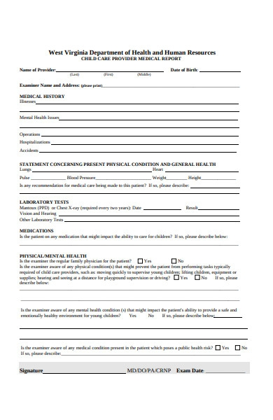 human resources health form