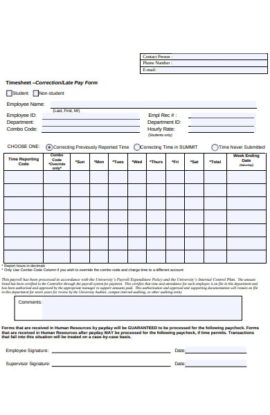 human resources late pay form