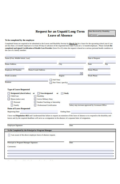 human resources leave of absence form