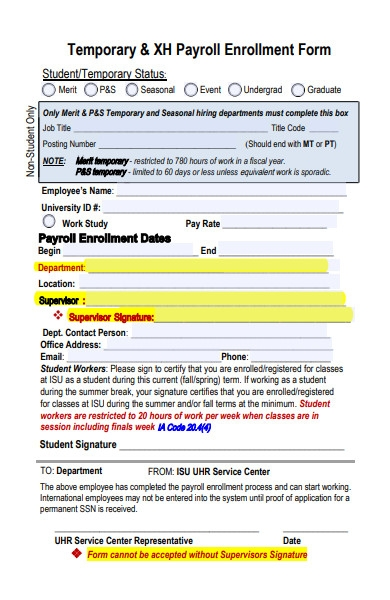 human resources payroll enrolment form