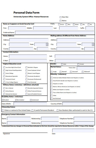 human resources personal data form