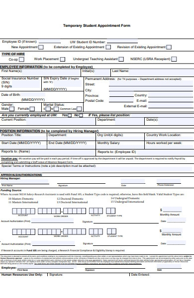 human resources student appointment form