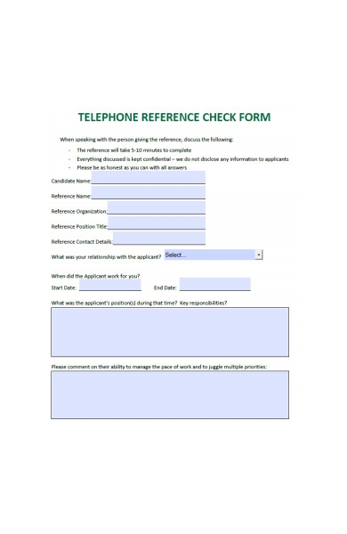 human resources telephone check form