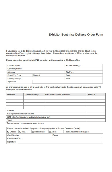 ice delivery order form