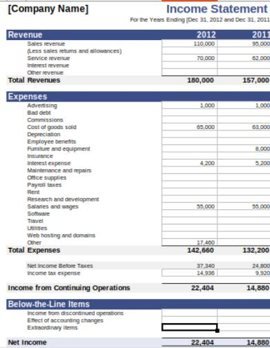 income statement spreadsheet example