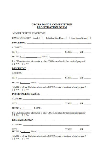 individual dance registration form