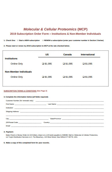 individual subscription form