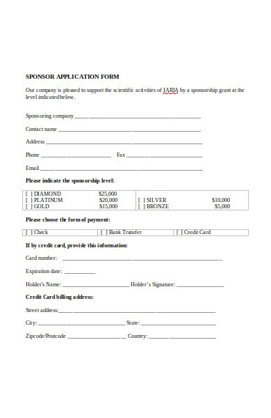 industrial sponsor application form
