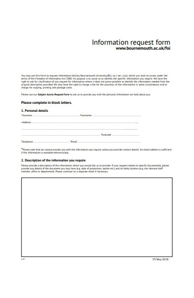 information request form in pdf