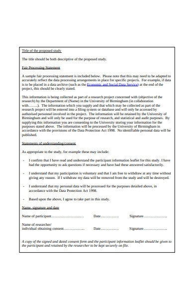 information and consent form