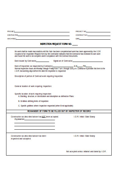 inspection request form