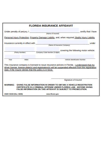 insurance affidavit form