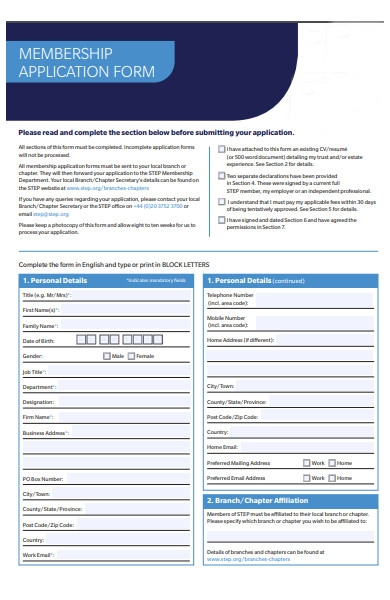 interactive membership application form