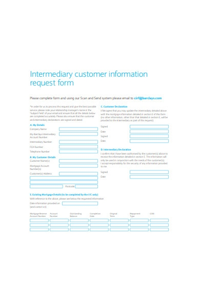 intermediary customer information request form