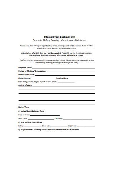 internal event booking form template