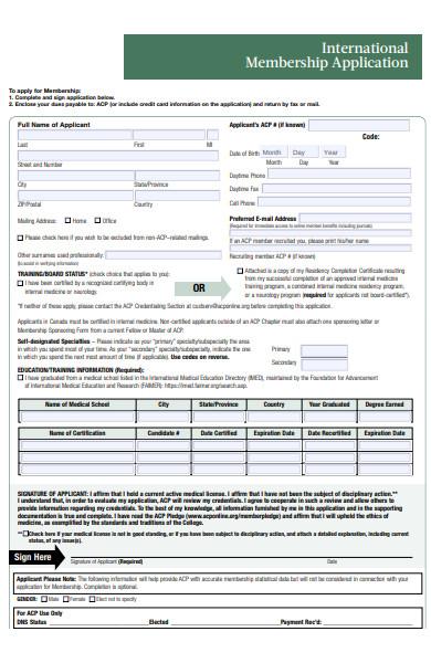 international membership form