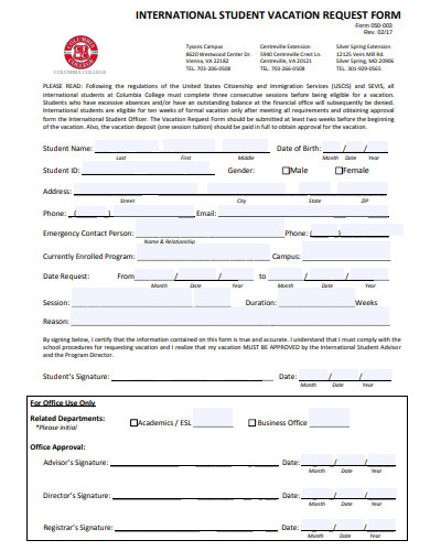 international student vacation request form