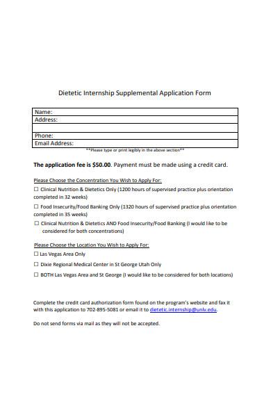 internship supplemental application form