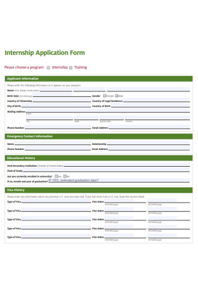 internship trainee application form