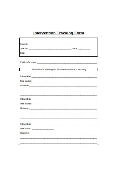 intervention tracking forms