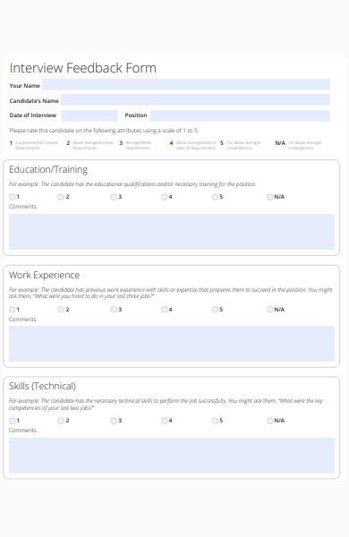 interview feedback form