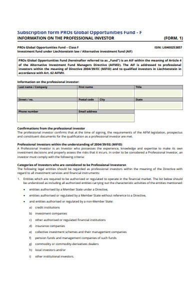 investor subscription form