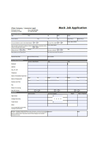 job application form in pdf