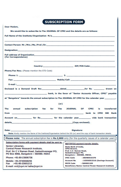journal subscription form